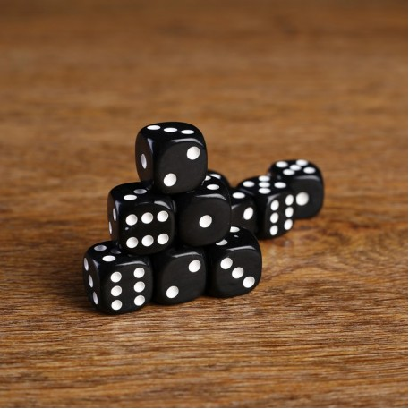 Кости игральные 1.6х1.6 см, черные, фасовка 100 шт 1503026