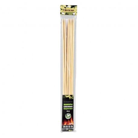 Шампуры бамбуковые 40x0,6x0,6 см, КВАДРАТНЫЕ, 6 штук в ПВХ упаковке