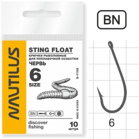 Крючок Nautilus Sting Float Worm Червь S-1108BN № 6